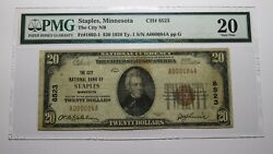 20 1929 Staples Minnesota Mn National Currency Bank Note Bill Ch 8523 Vf20 Pmg