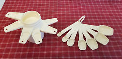 Vintage Retr0 Set Of Tupperware Measuring Spoons And Cups – Almond – Perfect