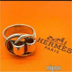 Hermes Accessory Duano Ring Size 48 Jp 8 Designer Silver Jewelry Ladies Used