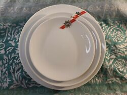 Set Of 3 Vintage Twa Airlines 1st Class Porcelain Plates Must See