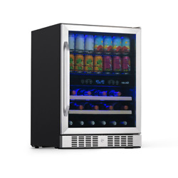 Newair Beverage Cooler 23.4 In. W 70-can Built-in 20-bottle Wine Stainless Steel