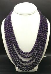 Natural Amethyst Hand Carved Round Shape Beaded Necklace Size 4.50mm Till 23mm
