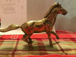 """Vintage Horses Brass Sculpture Figure Trotting Running 8.5"""" Wild 8 1 2 inches"""