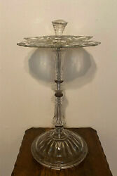 Vintage Art Deco Pressed Glass Standing Smoking Stand Table, Deena Products