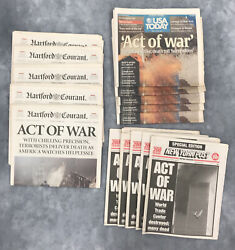 September 12 2001-9/11 Newspapers-ny Post, Usa Today, Hartford Courant Lot Of 3