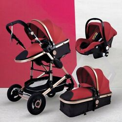 New Red Luxurious Baby Stroller 3 In 1 Portable Travel Baby Carriage Folding