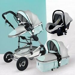 2021 New Greenandgray Luxurious Baby Stroller 3 In 1 Portable Travel Baby Carriage