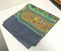 Hermes Carre 90 Multicolor Qalamdan Gray Scarf Silk 100% Authentic France Used