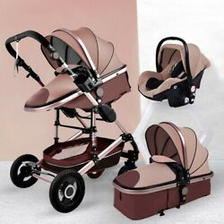 2021 New Brown Luxurious Baby Stroller 3 In 1 Portable Travel Baby Carriage