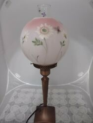 Fenton Glass Glossy Rosalene Hand Painted Floral Pillar Lamp W/ Painted Chimney