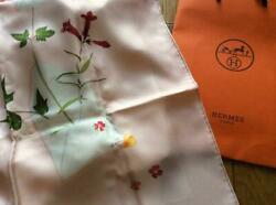 Hermes Carre 90 Floral Letter Pastel Pink Scarf Silk 100% Ladies Authentic