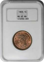 1853 Large Cent Ms65rb Ngc