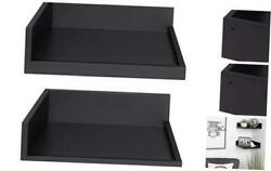 Levie Modern Floating Corner Wood Wall Shelves, 12 X 12 Inches, 2 Piece Black