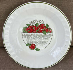 Apple Pie Plate With Recipe From Reading China And Glass Company Made In Portugal