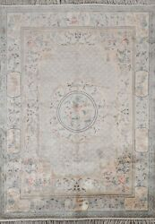 Vintage Silk Floral Art Deco Chinese Oriental Area Rug Hand-knotted Carpet 6x8