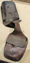 1940and039s Harley Davidson Panhead Hd Tooled Leather Saddle Bags - Barn Find Distres