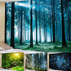 Forest Scenery Wall Hanging Tapestry Print Bedspread Blanket Room Home Decor Mat