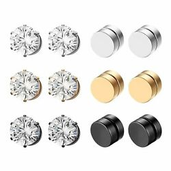 Stainless Steal Rings No Piercing Clip On Ear For Men Women Round Magnet Jewelry