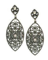 Genuine Pave Diamonds 925 Sterling Silver Marquise Shape Dangle Drop Earring