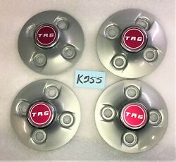 Used Oem And03968 - And03976 Triumph Tr6 Set Of 4 Silver Hub Caps W/ Name Plates K255