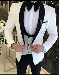 Wedding Mens 3 Piece Suit Jacket ,vest And Pants Also A Bow Tie Comes With It To