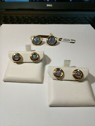 18kt Yellow Gold And Sterling Silver Triplet Opal Cuff Link And Stud Set