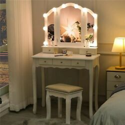 Tri-folding Mirror 5 Drawers Vanity Table Set With 10 Led Light And Cushion Stool