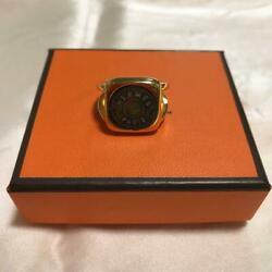 Hermes Accessory Paris Bijouterie Ring Size 1252 Gold × Black Mother Of Pearl