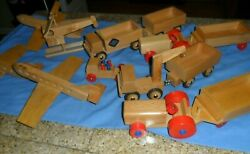 Rare 13 Lot Dippon 1960s Vintage Germany Toy Wood Airplanes Helicopter Trucks +