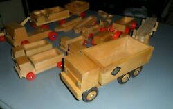 Rare 18 Lot Dippon 1960 Vintage Germany Toy Wooden Wood Tow Lumber Truck Tractor