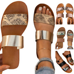 Women Summer Double Strap Sandals Slip On Flat Slides Slippers Casual Mule Shoes