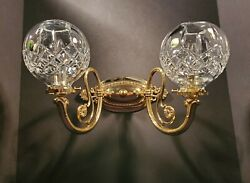 Waterford Lismore Polished Brass Fine Cut Crystal Double Arm Wall Sconces