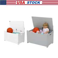 Kids White Finish Wooden Toy Box Chest Storage Bench Trunk Play Room Organize