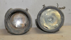 2 Antique Brass Headlight Carbide Lamp 1915 Automobile Model T Ford Collectible