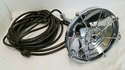 Vintage Aj Morse And Son Chrome Electric Fire Rescue Spot Light, Handle And 55' Cord