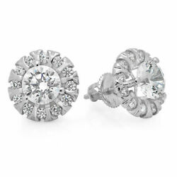 1.18ct Round Halo Studs Real Vs1 Conflict Free Diamond 14k White Gold Earrings
