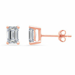 1.0ct Emerald Cut Real Vs1 Conflict Free Diamond 14k Pink Gold Stud Earrings
