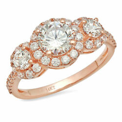 1.79ct Round Shape Natural Vs1 Conflict Free Diamond 14k Pink Gold 3 Stone Ring