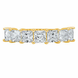 2.03ct Princess Natural Vs1 Conflict Free Diamond 14k Yellow Gold Eternity Band