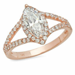 1.2 Ct Marquise Shape Natural Vs1 Conflict Free Diamond 18k Pink Gold Halo Ring