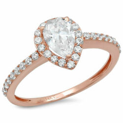 0.8 Ct Pear Cut Natural Vs1 Conflict Free Diamond Solid 18k Pink Gold Halo Ring