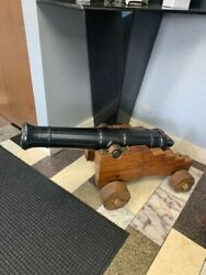 Cannon Steel Barrel 39 Long With Wood Carriage And 3 Shells