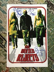 Devil's Rejects Cast Signed Poster Rare Rob Zombie Sid Haig House 1000 Autograph