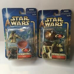 Star Wars Aotc Yoda Jedi High Council W/force Power Action Figure Lot Of 2 Rare