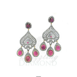 Natural Tourmaline Brown Diamond 925 Sterling Silver Earring Wedding Jewelry