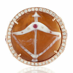 5.22ct Natural Shell Cameos Cocktail Ring 18k Rose Gold Diamond Jewelry