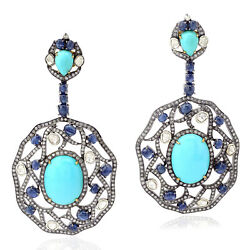 44.73ct Turquoise Dangle Earrings 925 Sterling Silver 18k Gold Sapphire Jewelry