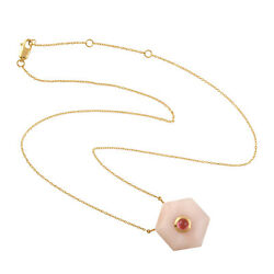 13.76ct Natural Precious Opals Chain Necklace 18k Yellow Gold Tourmaline Jewelry