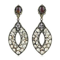 14.76ct Natural Diamond Dangle Earrings 925 Sterling Silver 18k Gold Jewelry