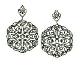 6.97 Cts Natural Diamonds 925 Sterling Silver Pave Designer Earrings For Womens